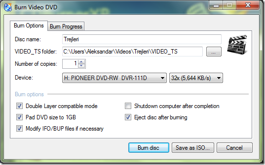 Burn Video DVD podešavanja